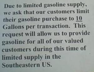 This sign was posted at each pump at the Kangaroo Gas Station in Elon, N.C. While the station asked customers to limit themselves to 10 gallons, many did not
