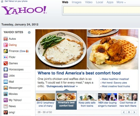 Food & Wine's America's Best Comfort Foods Feature, which I produced and shot for, on the Yahoo! homepage.