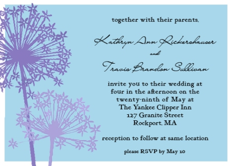 The official invitation to Katie & Travis' wedding.