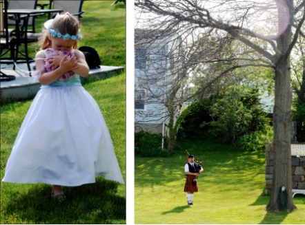 The beautiful flower girl and the muscial accompaniment, a tribute to the bride's scottish heritage.