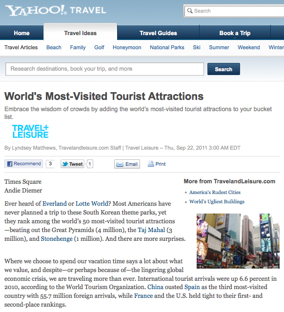 Travel And Leisure World S Most Visited Tourist Attractions